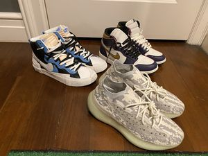 Three shoe bundle (Yeezy 380 alien, Jordan 1 la to Chicago, sacai blazer mid) all size 11-11.5 for Sale in Dallas, TX