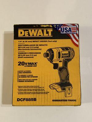 DEWALT 20-Volt MAX Lithium-Ion Cordless 1/4 in. Impact Driver DCF885B for Sale in Garden Grove, CA