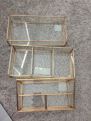 NEW Set of 3 Glass Vanity Rose Gold Copper Makeup Cosmetic Organizers Trays Holder for Sale in Richardson, TX
