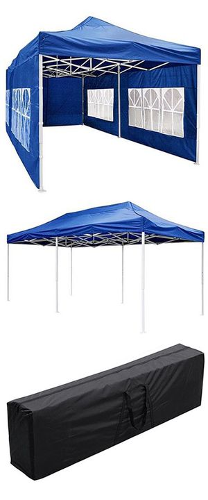 (NEW) $190 Heavy-Duty 10x20 Ft Outdoor Ez Pop Up Party Tent Patio Canopy w/Bag & 6 Sidewalls, Blue for Sale in Whittier, CA