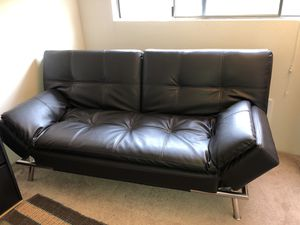 Dark brown leather futon for Sale in Renton, WA