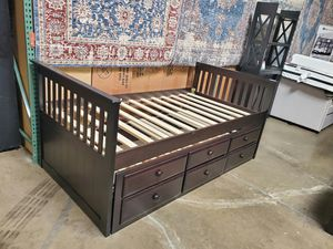 Twin Mission Style Captain Bed (Fully Slated) with Trundle and Drawers, Cappuccino Finish for Sale in Garden Grove, CA