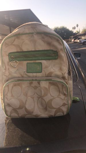 Lite brown n lime green Coach Tote Back Pack It's Real for Sale in Fresno, CA