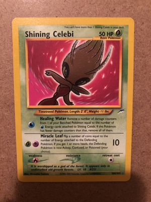 SHINING CELEBI HOLO RARE POKEMON CARD NEO DESTINY SET COLLECTION 106/105 FOIL for Sale in Houston, TX
