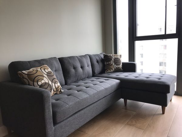 Brand New Grey Linen Sectional Sofa Couch