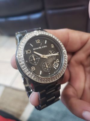 MICHAEL KORS BLACK GLOSS WITH DIAMONDS CHRONOGRAPH WITH DATE WOMANS WATCH for Sale in Ontario, CA