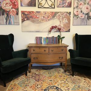 Pair of IKEA Velvet Wing Chairs for Sale in Graham, WA