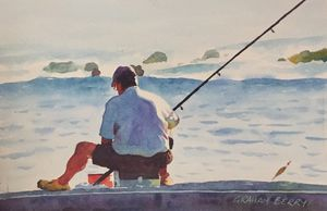 Original Hand Painted Watercolor Painting Fisherman, Man Fishing, Artist Signed for Sale in Tampa, FL