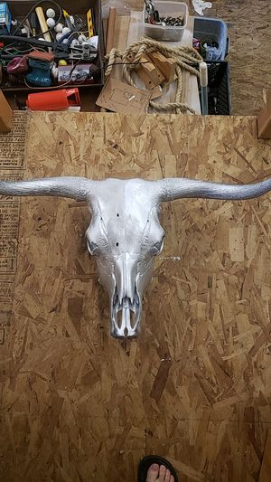 Cow skull. Painted silver. for Sale in Arlington, WA