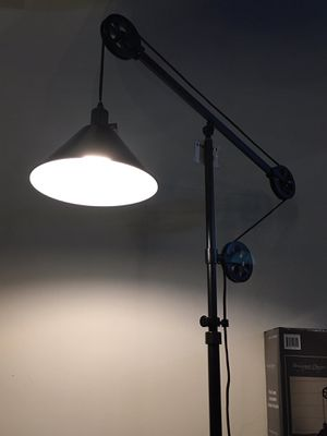 New in box 72 inches tall pulley floor lamp with led light bulb included heavy duty bronze steel finish for Sale in La Mirada, CA