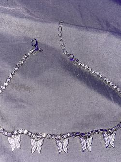 Silver Diamond Butterfly Necklace for Sale in Linden,  NJ