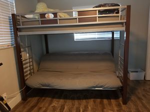 Twin bunk bed with futon for Sale in Pembroke Park, FL
