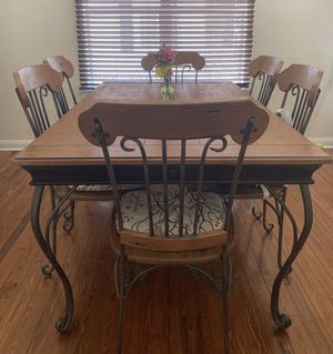 Dining table and wine/bar table. Wood and iron. Good conditions for Sale in Lake Wales, FL