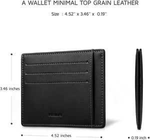 INJOYLIFE Leather Slim Wallet Minimalist Front Pocket Wallet RFID Blocking Credit Card Holder Leather Card Holder Wallet (Black) for Sale in Cleveland, OH