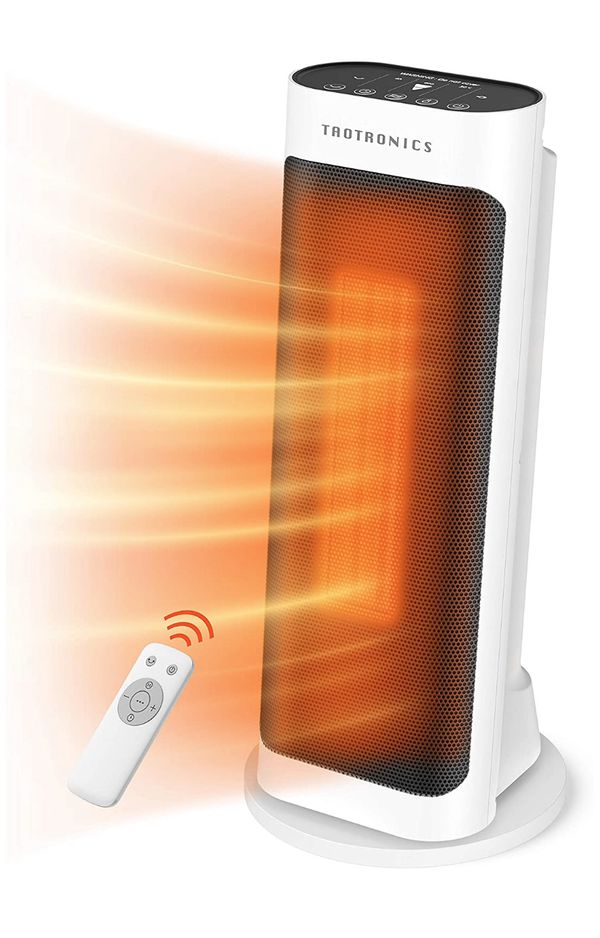 Taotronics Space 1500W Electric small portable patio heater with remote control, 65° oscillation, ECO mode, tip switch and LED display for overheat p