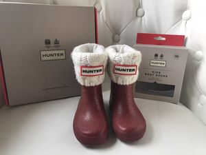 Hunter boots and socks toddler size 6 boys/ 7 girls for Sale in Tacoma, WA