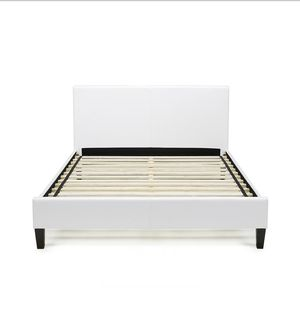 White Twin Size Leather Platform Bed Frame for Sale in Springfield, VA