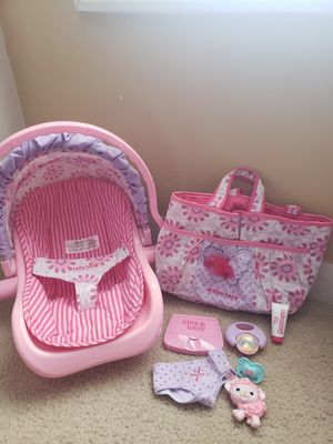 American Girl bitty baby diaper bag & car seat for Sale in East Bridgewater, MA