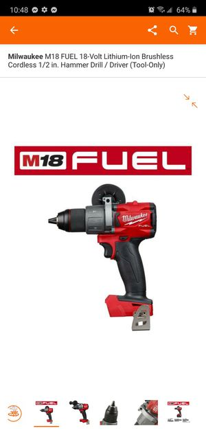 Milwaukee M18 FUEL 18-Volt Lithium-Ion Brushless Cordless 1/2 in. Hammer Drill / Driver (Tool-Only) for Sale in Dumfries, VA