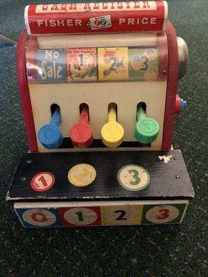 Vintage 1960s Fisher Price wooden cash register for Sale in Fort Worth, TX