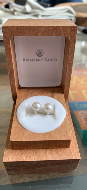 Brilliant Earth pearl earings set in white gold with diamond accent for Sale in Denver, CO