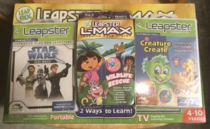 Leapster L Max Kids Learning Game Toy with Games Dora Star Wars etc for Sale in Hayward, CA