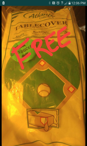 FREE! Baseball theme table cloth for Sale in Columbus, OH