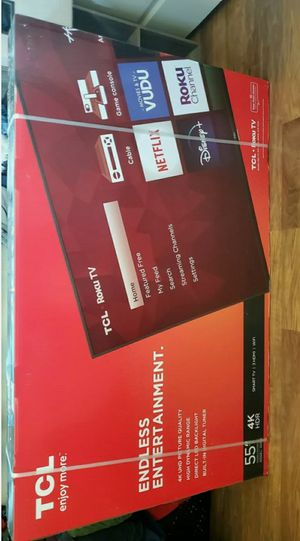 "Tcl 55""4k uhd led smart TV with roku .... new in box and sealed for Sale in Plano, TX"