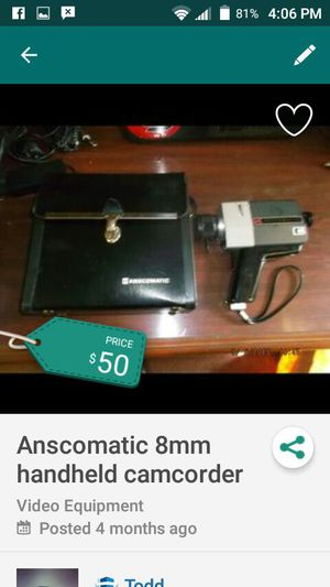 Anscomatic 1960's 8mm Camcorder for Sale in Charlotte, NC