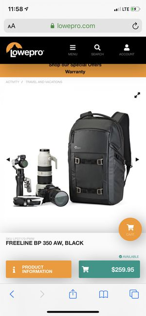 Lowepro Freeline BP 350 AW - Camera Bag for Sale in Redondo Beach, CA