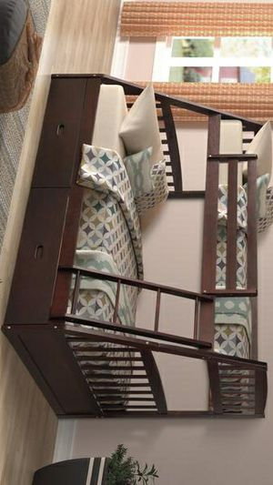 449 Miller Espresso Twin over Full Bunk Bed with Storage Drawers SAME DAY DELIVERY for Sale in Houston, TX