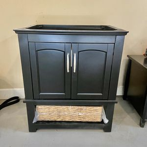 Bathroom Vanity Base painted in Black with drawer and custom wire basket for storage 29 W x 33.5 H x 22 D Solid Wood Brand New for Sale in Cumming, GA