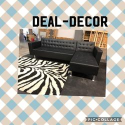 Black Leather Sectional/ Sofa Bed for Sale in Atlanta,  GA