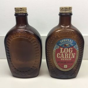Vintage Log Cabin Syrup Bottles 1776 Amber Brown Bottles Bicentennial Flask GC for Sale in Concord, NC