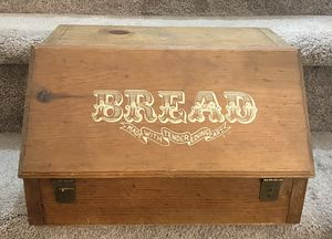 "Vintage HPMA Wooden Bread Box Drop Front Stenciled Garage Door ""Made With Tender Loving Care"" Rustic Farmhouse Kitchen Storage Decor for Sale in Chapel Hill, NC"