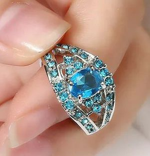 Brand new women's 18KT White Gold genuine blue aquamarine Engagement ring Wedding ring Promise ring or Everyday ring for Sale in New Port Richey, FL
