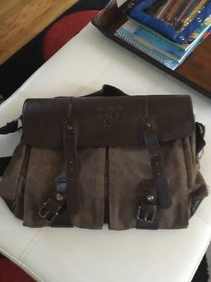NWT canvas and leather messenger bag for Sale in Huddleston, VA