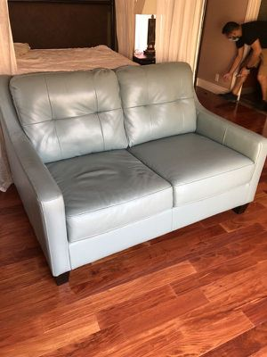 Genuine LeatherLight Blue Loveseat for Sale in Fort Lauderdale, FL