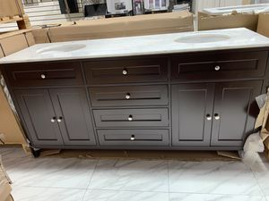 """72"""" Double Sink Espresso Bathroom Vanity Cabinet With 3CM Fabricated Countertop of Choice for Sale in Fairfax, VA"""