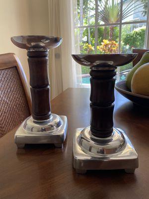 Set de candelabros de madera y pewter for Sale in Miami, FL