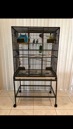 Bird Cage with 4 Beautiful Parakeets for Sale in Miramar, FL