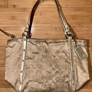 Coach Brand Gold Shimmering C Logo All over Print Purse (Clean purple interior ) for Sale in Portland, OR