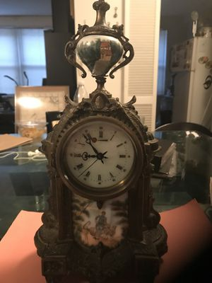 Antique clock bronze hand painted enamel working good condition for Sale in Queens, NY