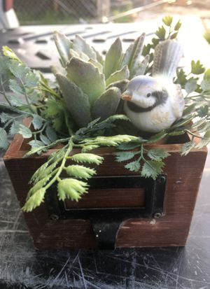 """4""""x3"""" wooden drawer with artificial plant and succulent in cute little file drawer for Sale in Dallas, TX"""