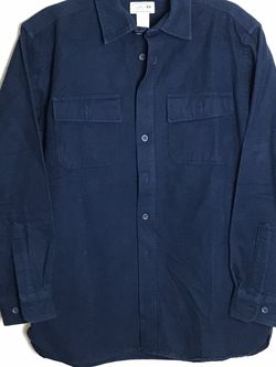 LL Bean Mens Shirt Size M Long Sleeve Chamois Flannel Navy Blue Button Up 0MT03 Gently used for Sale in French Creek,  WV