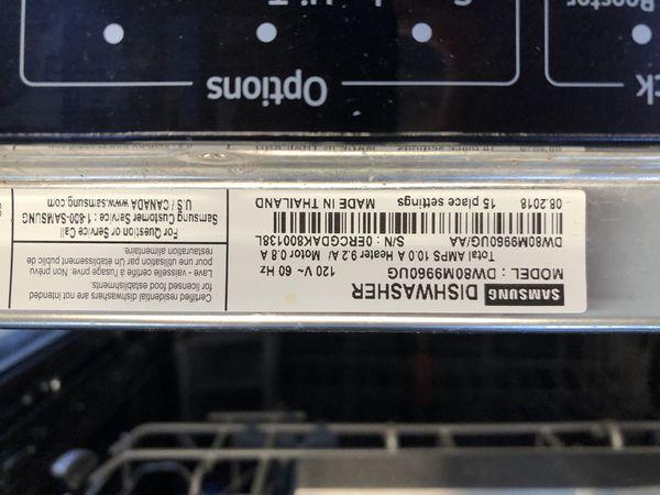 Samsung dishwasher, Model # DW80M9960UG
