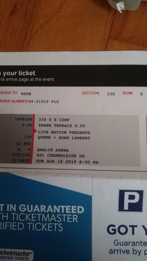 Two queen tickets amalie arena august 8th 2019 for Sale in Bowling Green, FL