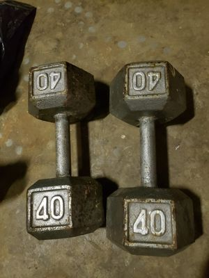 Pair of 40lb Hex Iron Dumbbells for Sale in Lakewood, CA