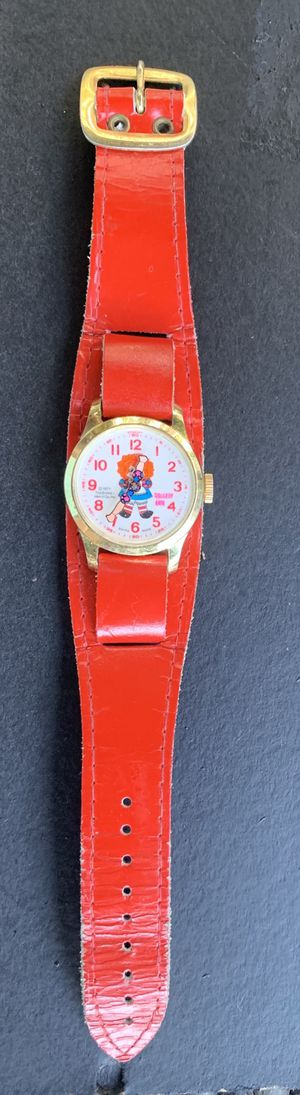 VINTAGE RAGGEDY ANN, BOOBS-MERRILL SWISS MADE WITH RED LEATHER SKINNY BAND for Sale in Houston, TX