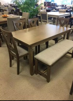 🍻39 DOWN🍻Brand New 5-Piece Wheat Rectangular Dining Set.[ Table & 4 Side Chairs ] Bench sold separately》SAME DAY DELIVERY for Sale in Houston, TX